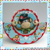 Circus Monkey Rocker Card Kit