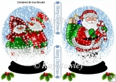 Illuminated Santa and snowman couple in snow globe with holly A5