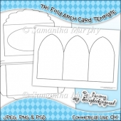 Tri Fold Arch Card & Envelope Template Commercial Use OK