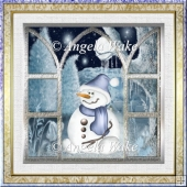 Snowman in the moonlight 7x7 card with decoupage