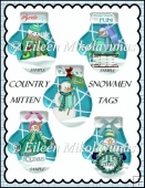 Country Snowman Mitten Tag Set