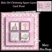 Baby Girl Christening Square Layers Card Front
