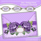 Lilac Vintage Rose Envelope Card Front