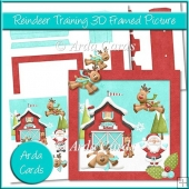 Reindeer Training 3D Shadow Box Picture