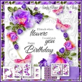 Roses and Butterflies Birthday Word Art 2