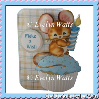 Cupcake Mouse Shaped Fold Card Kit With Assorted Greetings Tags