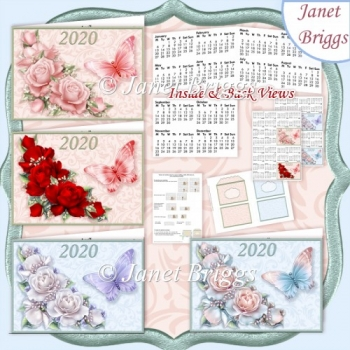 ROSES & BUTTERFLIES 2020 UK Easy Fold Purse Calendars