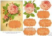 "5x7"" Vintage/Retro Effect Rose Card Topper and Decoupage"