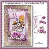 Flower Arrangement In Lilac And Gold Card Front