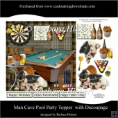 Man Cave Pool Party Topper with Decoupage