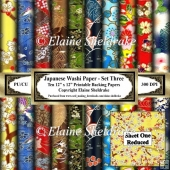 Japanese Washi Papers - Set Three - Ten Sheets Of 12 x 12