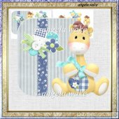 baby giraff 7x7 over the edge card with decoupage