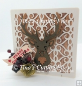 Deer / Stag - Layered 3d Christmas Card Square shape