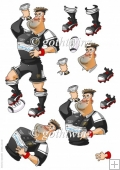 Rugby Dude: Black and White Decoupage Sheet