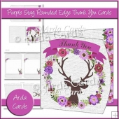 Purple Stag Rounded Edge Thank You Card