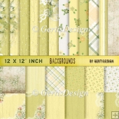Vintage Shabby Grunge green yellow background paper 12 inch