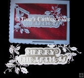 Christmas Card Topper Merry Christmas and Holly trim