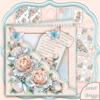 Square Scallop Pocket Pastel Roses Kit All Occasions