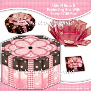 Grin N Bear It Octagonal Exploding Box With Secret Gift Box