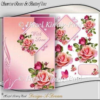Sunrise Roses & Butterflies Decoupage Card Front/Topper