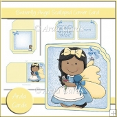 Butterfly Angel Scalloped Corner Card