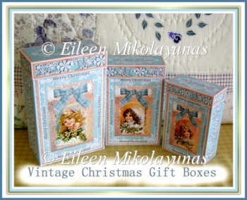 Vintage Christmas Children Gift Boxes and Tags Set