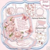 PINK ROSES & VERSE Large Easel Card Kit & Decoupage 7.5