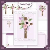 Lilac, flowers and cross card set