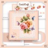 Roses and lace square card set