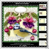 Bluetit Lace & Fuschias 6 x 6 Card Kit With Decoupage Insert etc