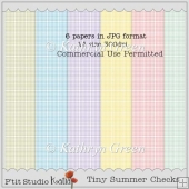 6 Tiny Check Patterned Backing Papers In Summer Colours