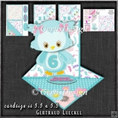 Cute Fancy Easel Turquoise Owl Birthday 1-9 1261