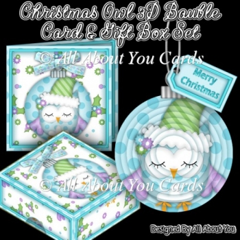 Christmas Owl 3D Bauble Tree Ornament With Gift Box & Card