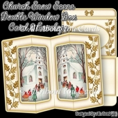 Church Snow Scene Double Window Box Card & Envelope Set