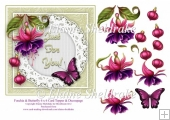 Fuschia Flowers & Pink Butterfly 6 x 6 Card Topper And Decoupage
