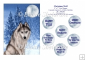 Christmas Wolf - 5 x 7 Card Topper & Assorted Greetings - PU 300