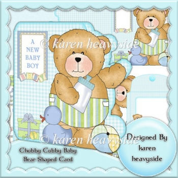 Chubby Cubby Baby Bear 1 Shaped Card