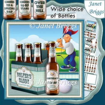 GOLF BEER 6 PACK GOLFER'S CADDY 7.5 Decoupage & Insert Kit