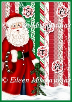 Santa Spelling Bee Backing Background Paper