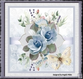 Blue rose and butterfly 7x7 card