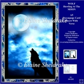"Wolf Howling At The Moon - 5"" x 7"" Decoupage Pagan Card Kit"