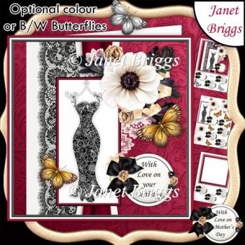 LITTLE BLACK DRESS 7.5 Decoupage & Insert Optional Butterflies