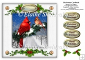 Christmas Cardinals Holly & Ivy 8 x 8 Card Topper With Decoupage