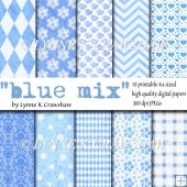 BLUE MIX - 10 A4 sized high quality digital papers - CUOK