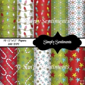 "10 - 12""x12"" Digital Christmas Papers"