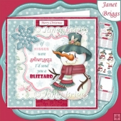 SNOWMAN KISSES 7.5 CHRISTMAS Decoupage & Insert Card Kit