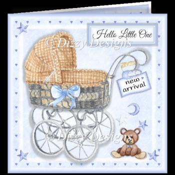 Baby Boy Wicker Carriage
