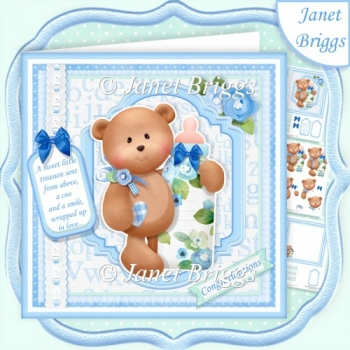 BABY BOY BEAR & BOTTLE 7.5 Decoupage & Insert Mini Kit