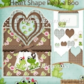 Toadally in Love Heart Shape Peek a Boo Card