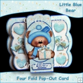 Little Blue Bear Four Fold Pop Out Card